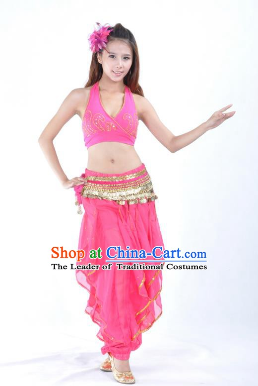 c523c8908ff8 Asian Indian Traditional Costume Belly Dance Stage Performance Oriental  Dance Rosy Clothing for Women