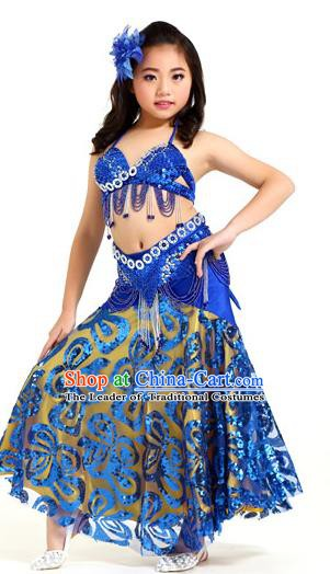 Indian Traditional Belly Dance Royalblue Dress Oriental Dance Performance Costume for Kids