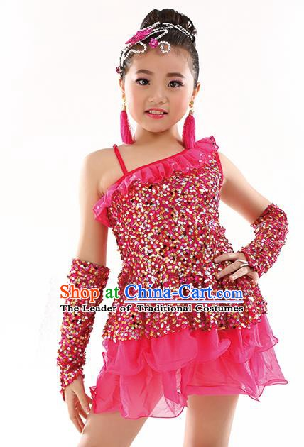 Top Latin Dance Performance Sequin Costume Traditional Children Modern Dance Rosy Dress for Kids