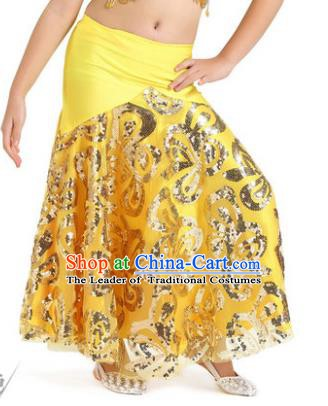 Top Indian Belly Dance Children Yellow Skirt India Traditional Oriental Dance Performance Costume for Kids