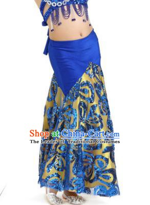 Top Indian Belly Dance Children Royalblue Skirt India Traditional Oriental Dance Performance Costume for Kids