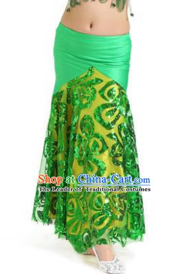 Top Indian Belly Dance Children Green Skirt India Traditional Oriental Dance Performance Costume for Kids