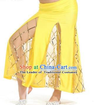 Indian Traditional Belly Dance Performance Costume Classical Oriental Dance Yellow Fishtail Skirt for Kids