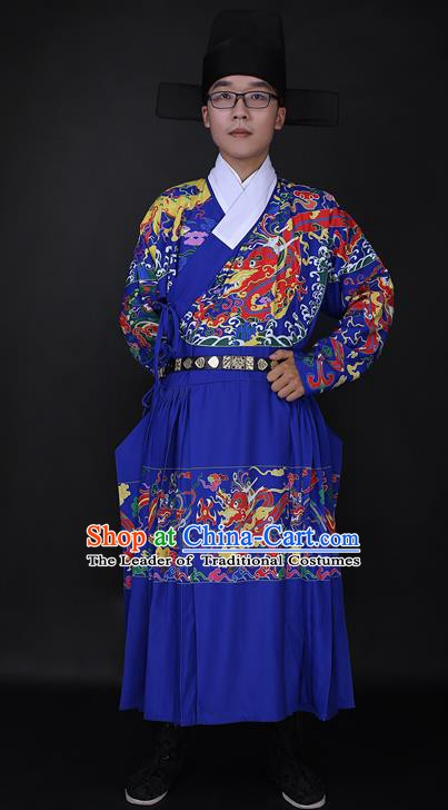 Ancient Chinese Imperial Bodyguard Blue Robe Costume Ming Dynasty Swordsman Clothing for Men
