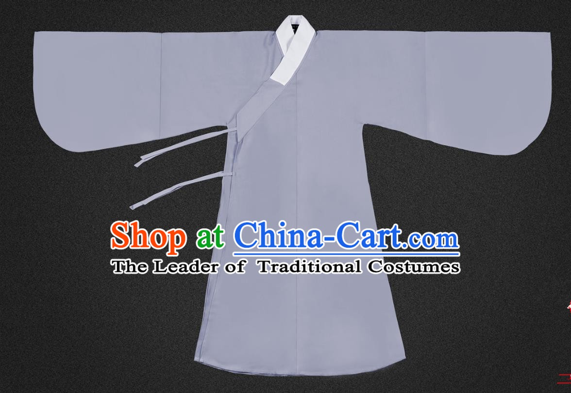 Chinese Ancient Scholar Grey Robe Ming Dynasty Swordsman Costumes for Men