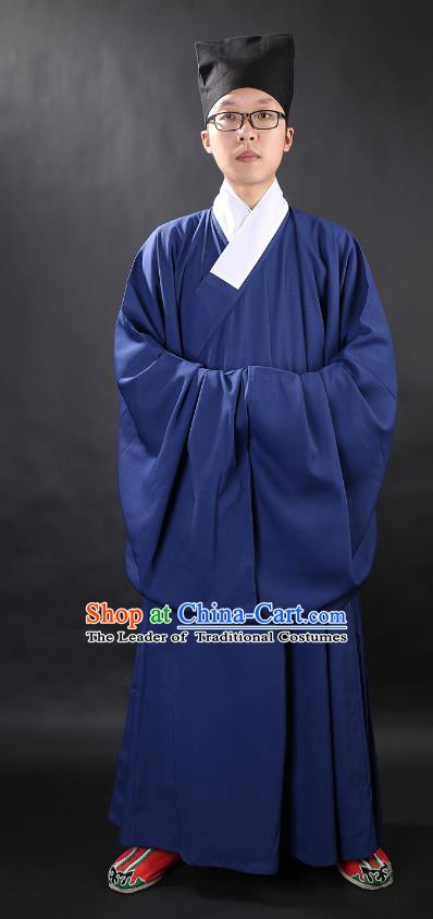 Chinese Ancient Ming Dynasty Taoist Priest Costume Navy Priest Frock for Men