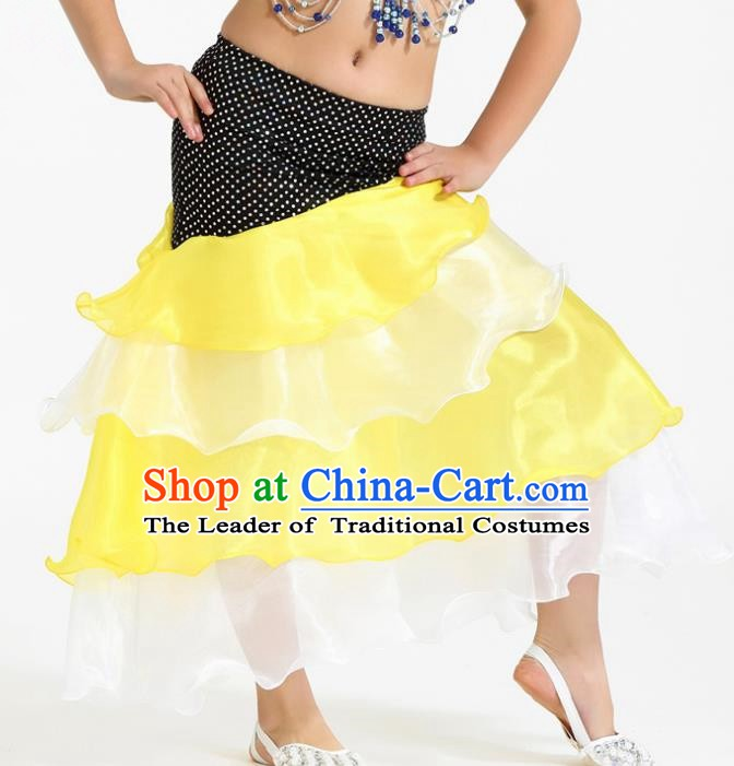 Asian Indian Belly Dance Yellow and White Skirt Stage Performance Oriental Dance Clothing for Kids