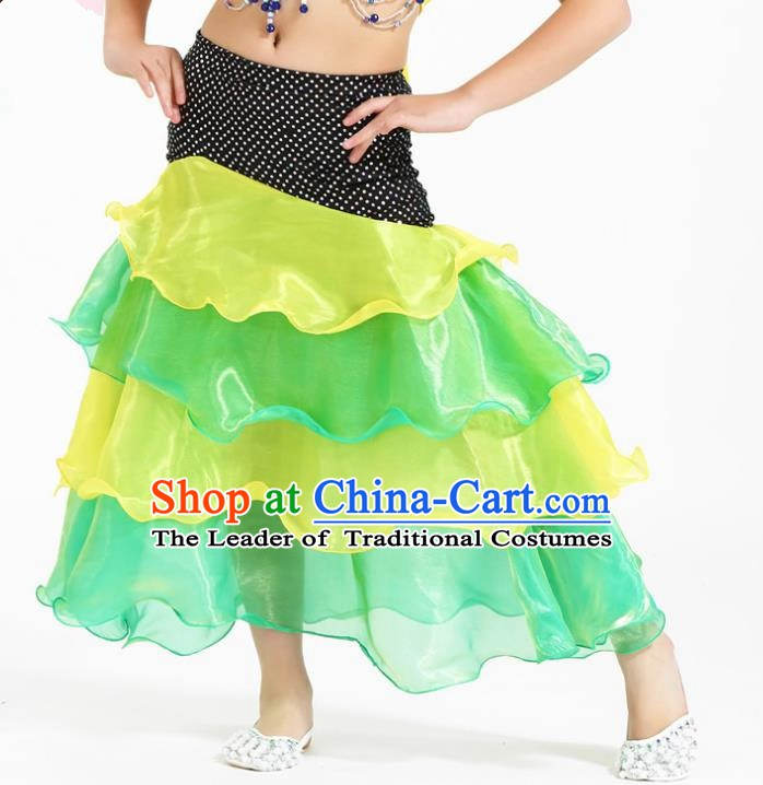Asian Indian Belly Dance Yellow and Green Skirt Stage Performance Oriental Dance Clothing for Kids