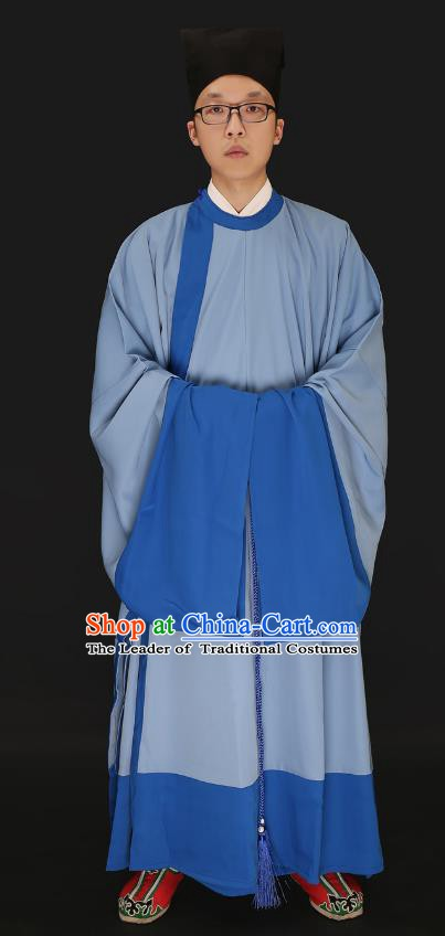 Chinese Ancient Ming Dynasty Costume Confucian Scholar Light Blue Robe Swordsman Hanfu Clothing for Men