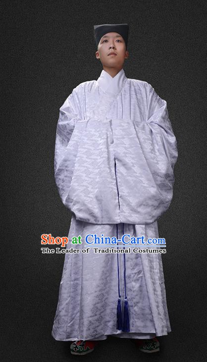 Chinese Ancient Ming Dynasty Taoist Priest Costume Swordsman Hanfu Clothing for Men