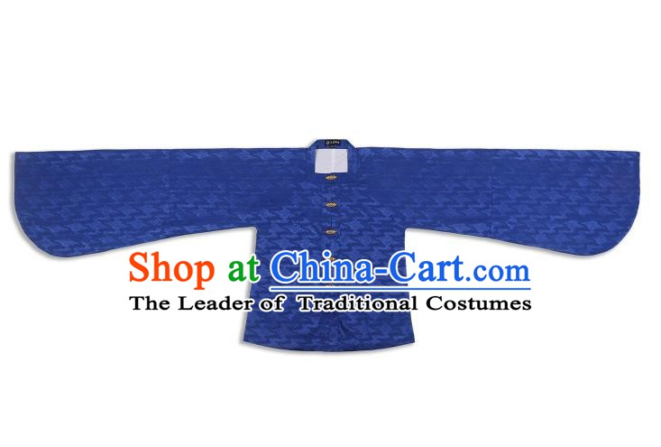 Chinese Ancient Ming Dynasty Palace Lady Costume Blue Blouse Hanfu Clothing for Women