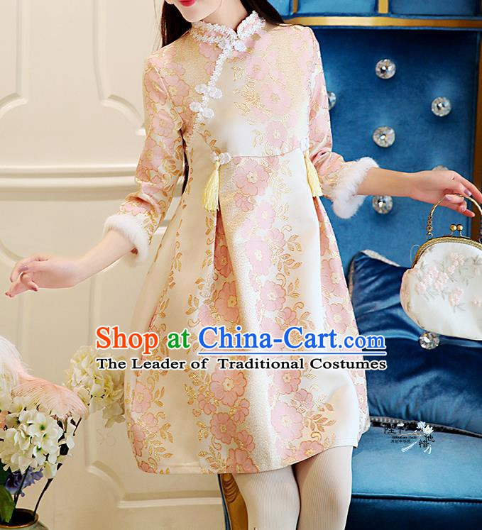 Traditional Chinese National Costume Pink Wool Dress Tangsuit Embroidered Cheongsam Clothing for Women