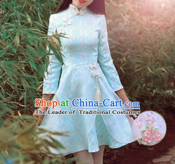 Traditional Chinese National Costume Blue Qipao Dress Tangsuit Embroidered Cheongsam Clothing for Women