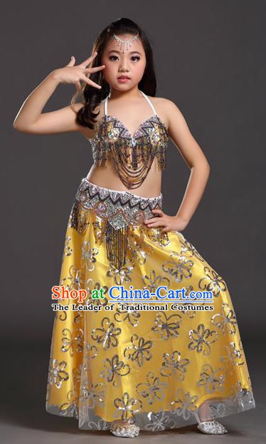 Asian Indian Children Belly Dance Yellow Dress Stage Performance Oriental Dance Clothing for Kids