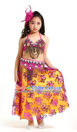 Asian Indian Children Belly Dance Rosy Dress Stage Performance Oriental Dance Clothing for Kids