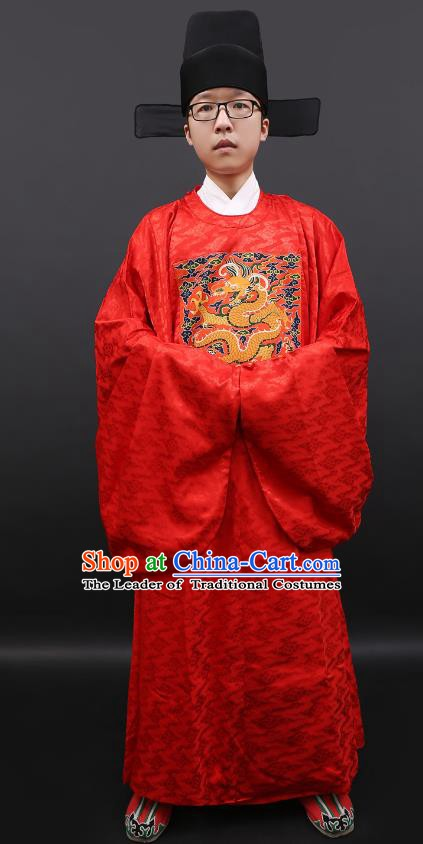Asian Chinese Ancient Costume Ming Dynasty Prime Minister Clothing for Men