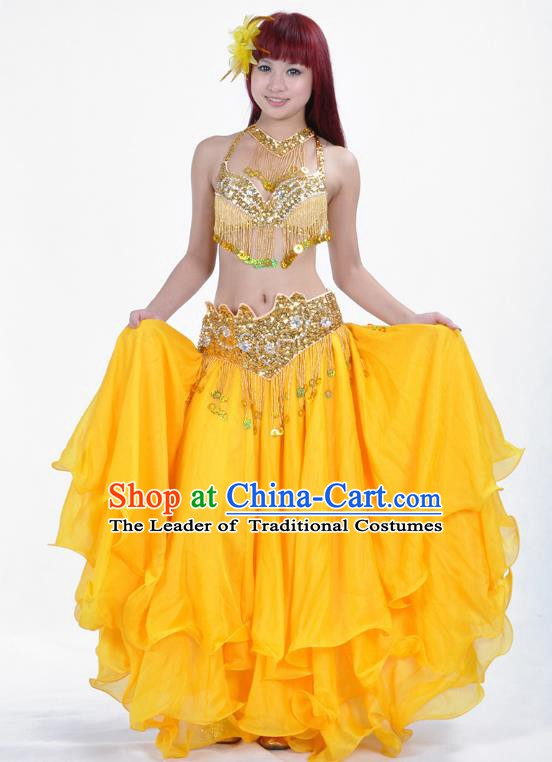 Traditional Bollywood Belly Dance Performance Clothing Yellow Dress Indian Oriental Dance Costume for Women