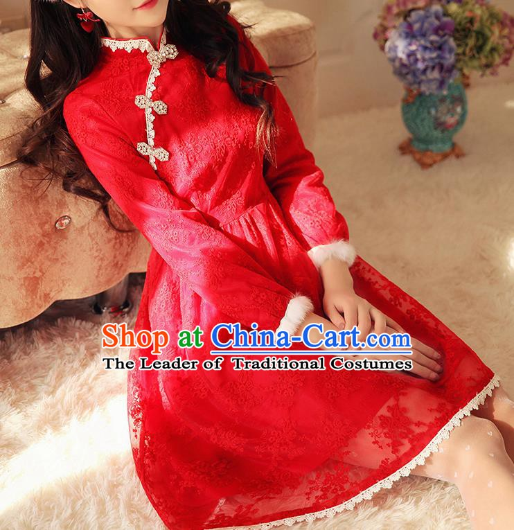 Traditional Chinese National Red Lace Dress Tangsuit Embroidered Cheongsam Clothing for Women