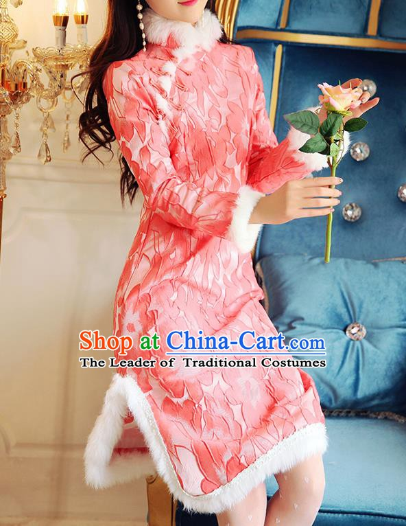 Chinese National Tangsuit Embroidered Red Cotton Wadded Qipao Dress Cheongsam Clothing for Women