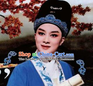 Traditional Chinese Beijing Opera Scholar Young Men Black Hats Peking Opera Niche Headwear