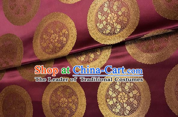 Chinese Traditional Fabric Palace Pattern Design Purple Brocade Chinese Mongolian Robe Fabric Asian Material