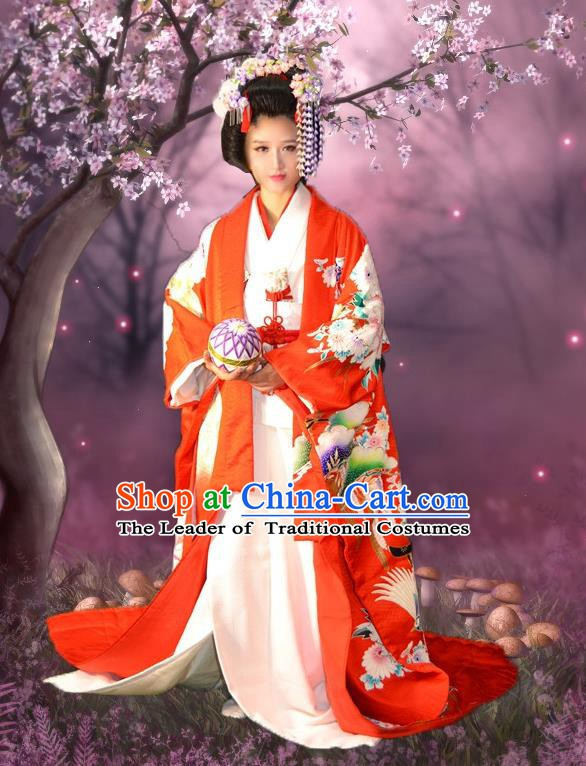 Japan Traditional Princess Costume Red Yukata Dress Japanese Wedding Furisode Kimono for Women  (Out of Stock)