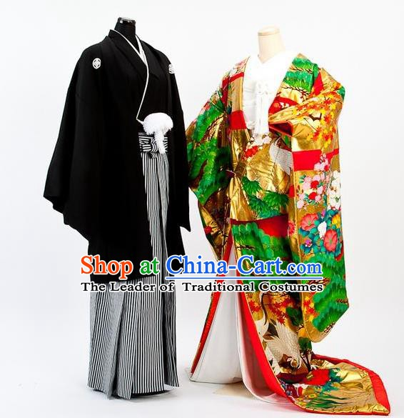 Traditional Japanese Wedding Costumes Bride and Bridegroom Kimono Clothing for Women for Men