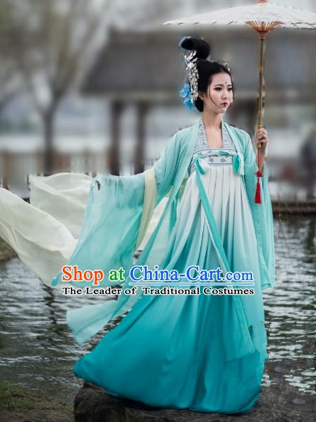 China Ancient Court Costume Tang Dynasty Palace Lady Embroidered Clothing Complete Set