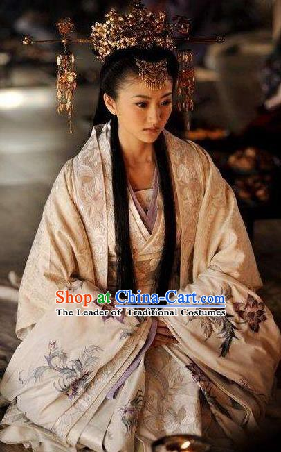 Chinese Ancient Han Dynasty Theatre Princess Hanfu Costume and Headpiece Complete Set