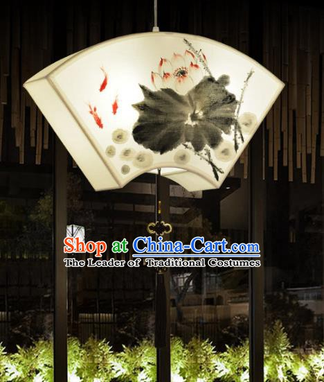 Traditional Chinese Ancient Palace Lantern Ceiling Lamp Ink Painting Lotus Lanern