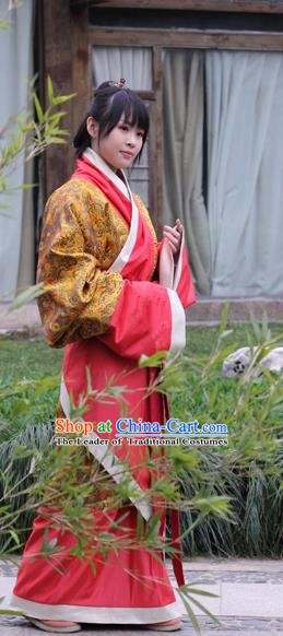 Chinese Traditional Han Dynasty Palace Lady Costume Ancient Hanfu Curving-front Robe for Women