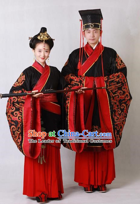 Ancient Chinese Zhou Dynasty Imperial Emperor and Empress Embroidered Wedding Costumes Complete Set