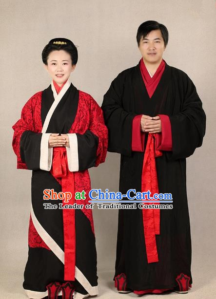 Ancient Chinese Zhou Dynasty Bride and Bridegroom Hanfu Embroidered Wedding Costumes Complete Set
