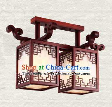 China Traditional Handmade Wood Lantern Two-pieces Palace Lanterns Ceiling Lamp Ancient Lanern