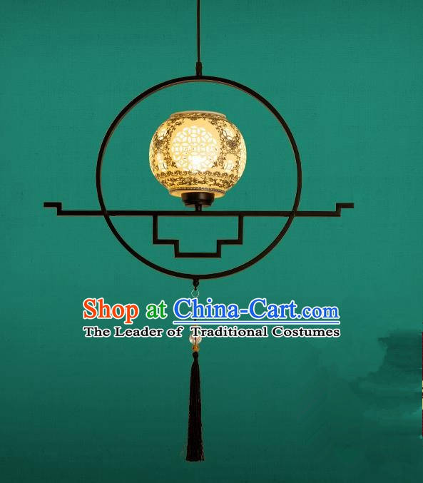 Traditional China Handmade Lantern Ancient Hanging Lanterns Ceramics Palace Ceiling Lamp