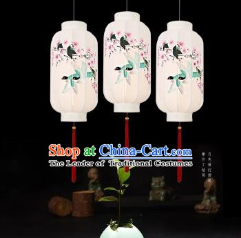 Traditional China Handmade Lantern Ancient Printing Peach Blossom Hanging Lanterns Palace Ceiling Lamp