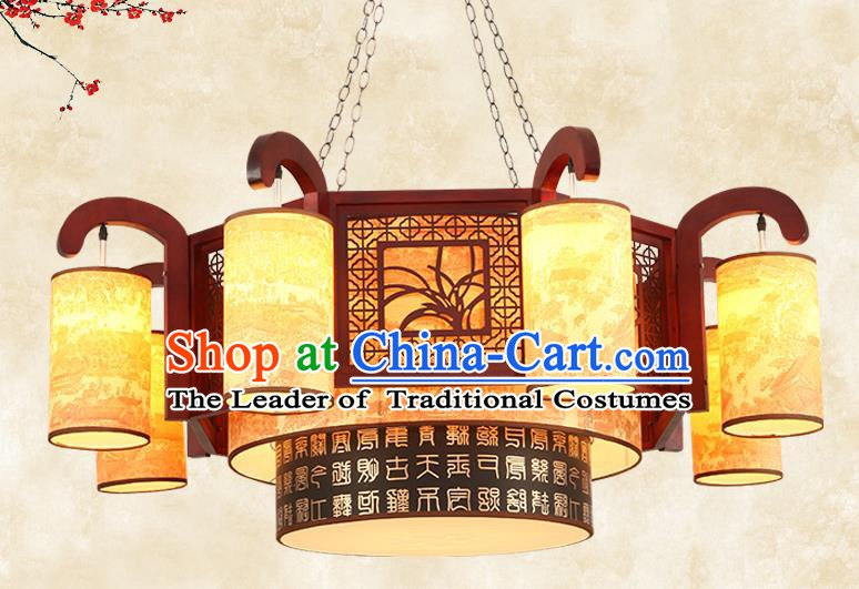 China Traditional Handmade Ancient Wood Orchid Lantern Eight-pieces Palace Lanterns Ceiling Lamp