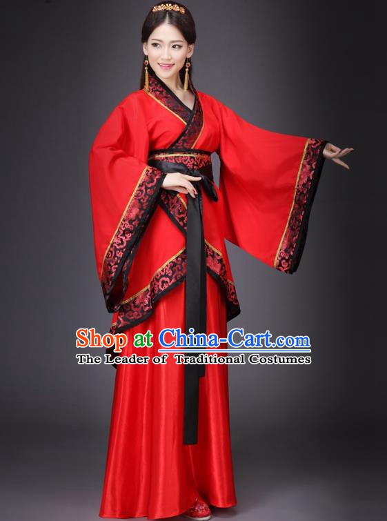 Chinese Ancient Princess Wedding Costume Han Dynasty Bride Embroidered Hanfu Dress for Women