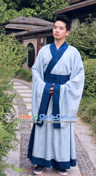 Ancient Chinese Ming Dynasty Scholar Costumes Blue Long Robe for Men