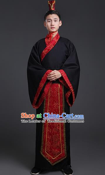 China Ancient Han Dynasty Swordsman Costume Theatre Performances Scholar Clothing for Men