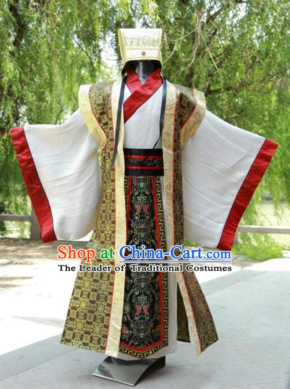 China Ancient Han Dynasty Military Counsellor Costume Theatre Performances Landlord Clothing for Men