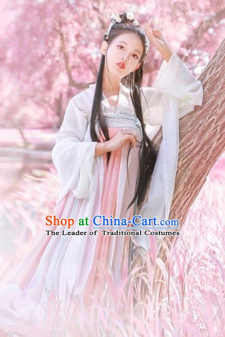 Ancient China Tang Dynasty Historical Princess Embroidered Dress Costume for Women