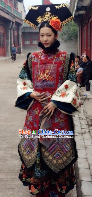 Ancient Chinese Qing Dynasty Manchu Guangxu Emperor Imperial Concubine Embroidered Historical Dress Costume for Women