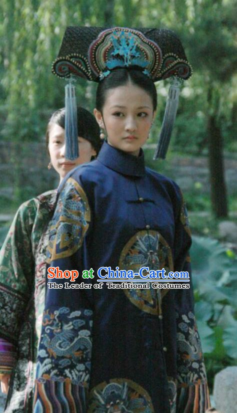 Ancient Chinese Qing Dynasty Manchu Princess Consort Embroidered Historical Dress Costume for Women
