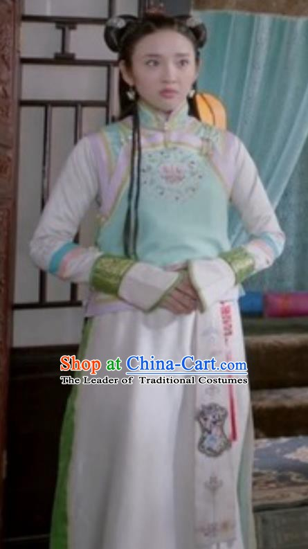 Chinese Ancient Qing Dynasty Hong Taiji Imperial Concubine Embroidered Manchu Dress Historical Costume for Women