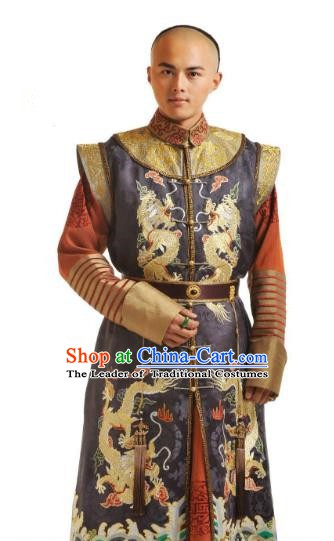 Chinese Qing Dynasty Ten Prince of Kangxi YinE Historical Costume Ancient Manchu Nobility Childe Clothing for Men