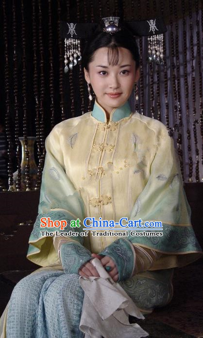 Chinese Ancient Qing Dynasty Empress Dowager Xiaozhuang YuEr Embroidered Manchu Dress Historical Costume for Women