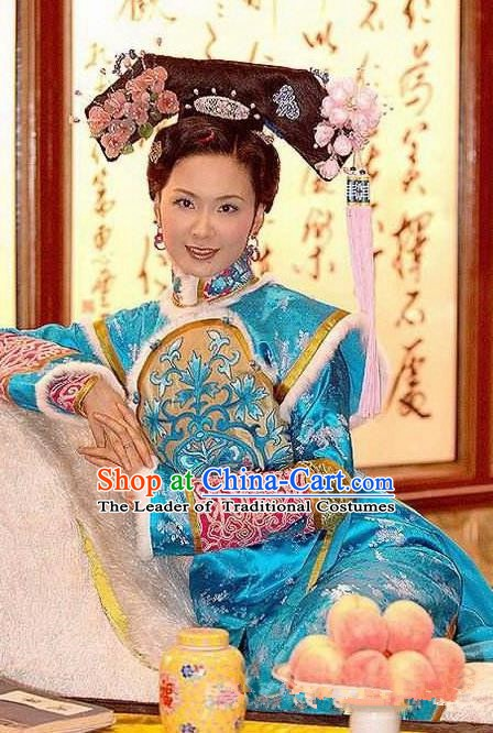 Chinese Ancient Qing Dynasty Nurhachi Imperial Concubine Embroidered Manchu Dress Historical Costume for Women