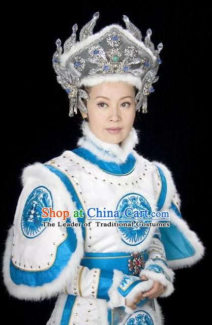 Chinese Ancient Qing Dynasty Nurhachi Empress Embroidered Manchu Dress Historical Costume for Women