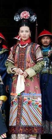 Chinese Ancient Qing Dynasty Historical Costume Mother of Guangxu Emperor Embroidered Dress for Women